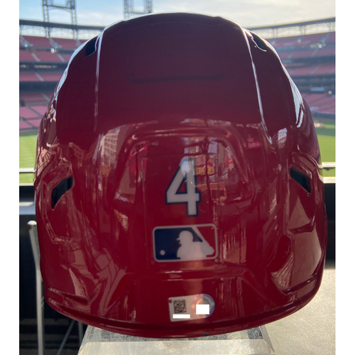 Photo of Cardinals Authentics: Team-Issued Home Red Helmet from 2020 Season