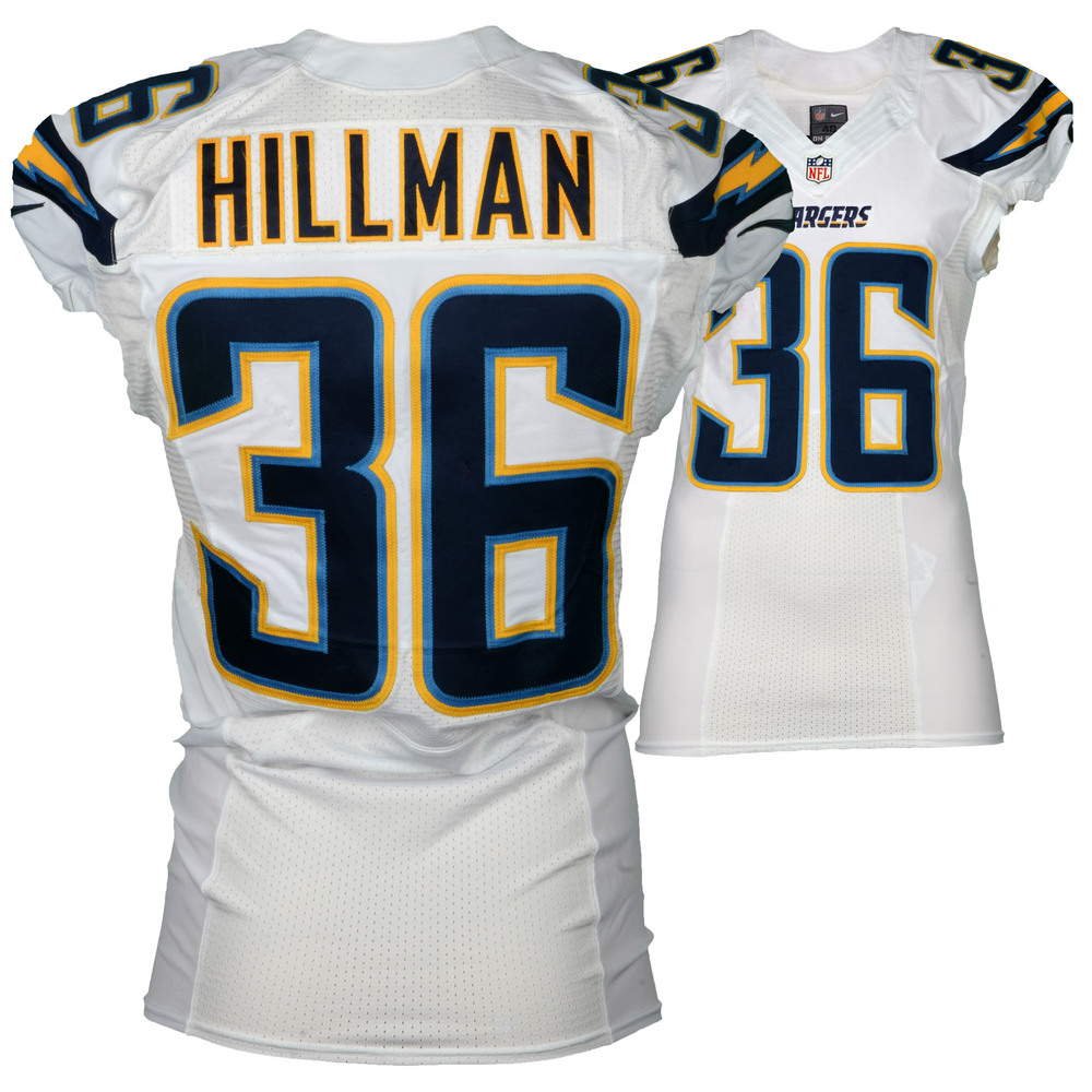 Ronnie Hillman San Diego Chargers Game Used 36 White Jersey