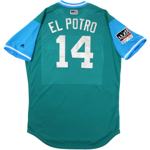 "Photo of Manny ""El Potro"" Acta Seattle Mariners Game-Used Players Weekend Jersey"