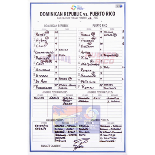 Photo of 2013 WBC: Round 2 - Dominican Republic vs. Puerto Rico Game-Used Line-up Card