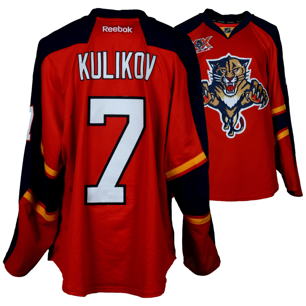Dmitry Kulikov Florida Panthers Game-Used #7 Red Jersey from the 2013-14 NHL Season - Size 56