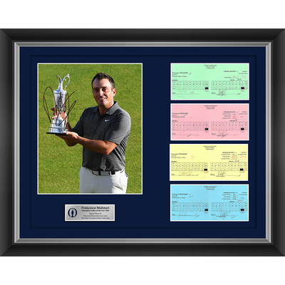 3 of 20 L/E Francesco Molinari, Champion Golfer of the Year, The 147th Open 1,2,3 and Final Round Scorecard Reproductions with Autographed Photo Framed
