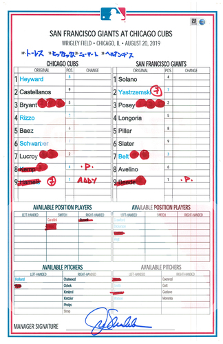 Photo of Game-Used Lineup Card -- Rizzo 3-3, 24th & 25th HR, Castellanos 3-5, 18th HR -- 8/20/19 -- Giants vs. Cubs