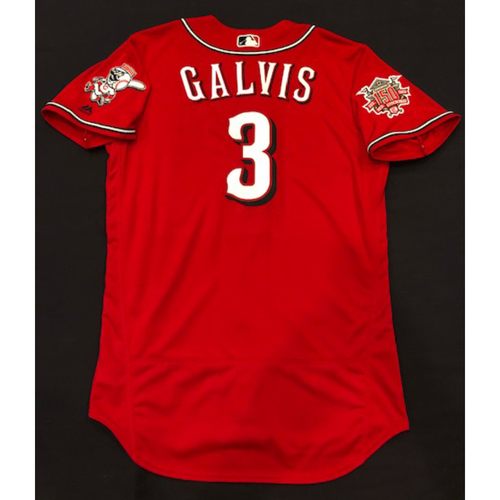 "Photo of Freddy Galvis -- Game-Used ""Los Rojos"" Jersey -- D-backs vs. Reds on 9/6/19 -- Jersey Size 44"