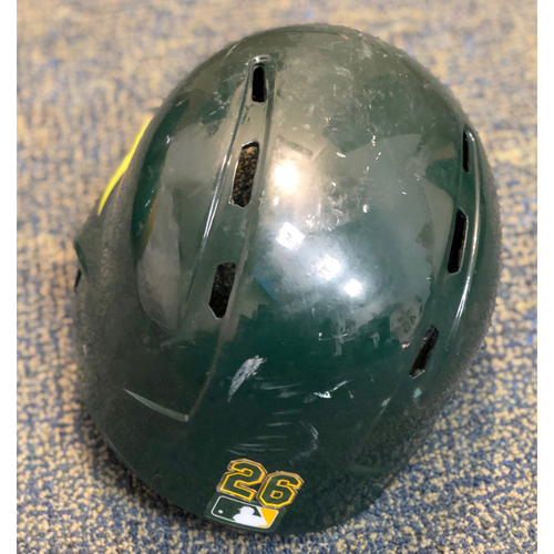 Game-Used Helmet: Matt Chapman 2019 Green Helmet