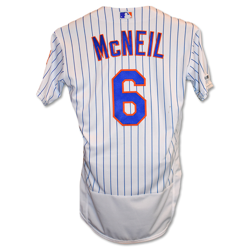 Photo of Jeff McNeil #6 - Team Issued White Pinstripe Jersey - 2019 Season