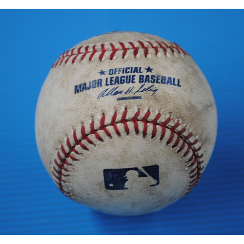 Photo of Game-Used Mets Home Opener Baseball - Nationals @ Mets - Batter - Ivan Rodriguez, Pitcher R.A. Dickey - 2nd Inning, 3-1 Count, Walk - 4/8/11