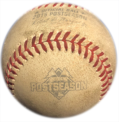 Photo of Game Used Baseball - Jon Lester to Yoenis Cespedes - Fly Out - 6th Inning - Mets vs. Cubs - 10/17/15