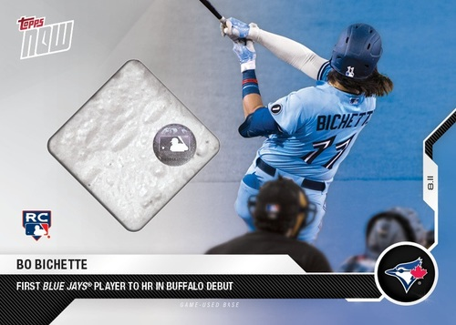 Photo of Authenticated 2020 Topps Now Relic Card with Piece of Game Used Base: Aug 11, 2020 vs MIA featuring image of Bo Bichette and the 1st Blue Jays HR in Buffalo. This was the 1st Blue Jays Game in Buffalo. Serial #2 of 20.