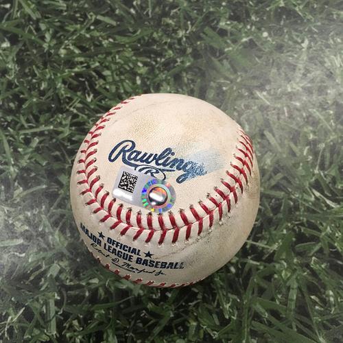 Photo of Game-Used Baseball CHC@MIL 09/07/19 - Yu Darvish - Travis Shaw (Strikeout) & Cory Spangenberg (Strikeout)