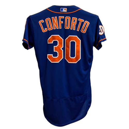 Photo of Michael Conforto #30 - Game Used Blue Alt. Home Jersey with Seaver Patch - 2-4, BB, RBI and 2 Runs Scored - Mets vs. Dodgers - 8/15/21
