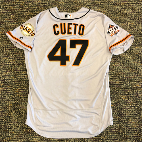 Photo of San Francisco Giants - 2018 Opening Day Game-Used Road Jersey - Worn by #47 Johnny Cueto on 3/29 and 3/30 vs Los Angeles Dodgers - 7.0 IP, 1 H, 4 Ks, 0 ER (3/30 Game)