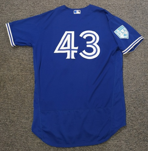 Photo of Authenticated Game Used 2019 Spring Training Jersey - #43 Sam Gaviglio (Mar 26). Size 48