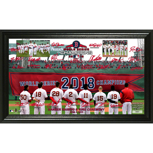 Photo of Serial #1! Boston Red Sox Banner Raising Signature Field Panoramic Photo Mint