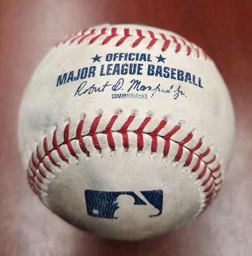 Photo of Authenticated Game Used Baseball - David Price strikes out Richard Urena (May 20, 19 vs BOS). Bottom 5