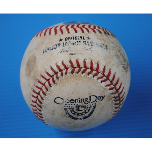 Photo of Game-Used Opening Day Baseball: Padres @ Mets - Batter - Ike Davis, Pitcher - Dale Thayer, Bottom of 7, Foul Ball - 4/1/13 - First Regular Season Game at Citi Field