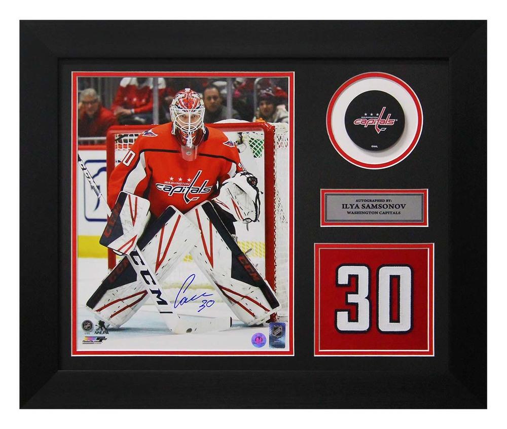 Ilya Samsonov Washington Capitals Autographed Jersey Number 20x24 Frame