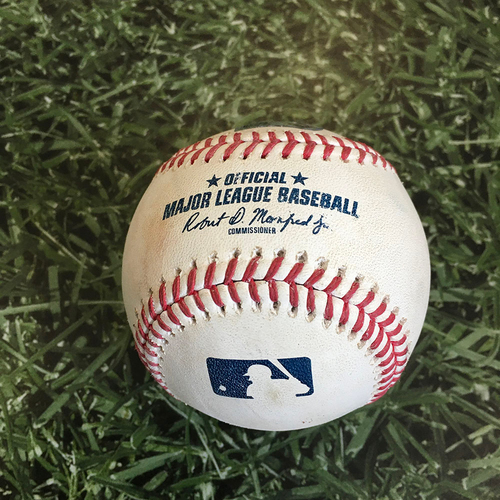 Photo of Game-Used Baseball CHC@MIL 09/12/20 - Kyle Hendricks - Keston Hiura: Single