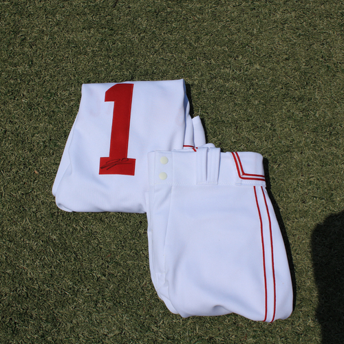 Photo of Game-Used & Autographed Monarchs Jersey & Game-Used Pants: Jarrod Dyson #1(DET @ KC 5/23/21) - Size 40
