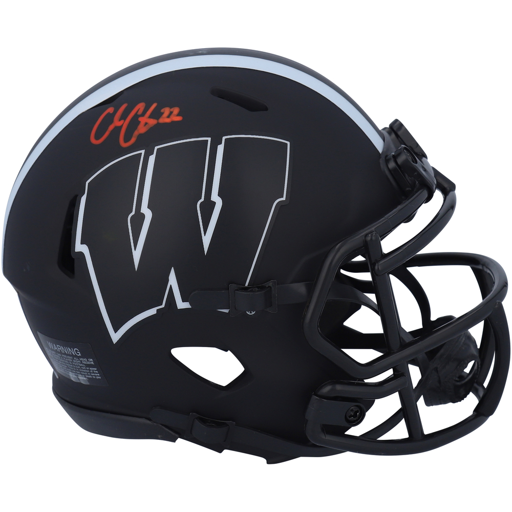 Cole Caufield Montreal Canadiens Autographed University of Wisconsin Badgers Riddell Eclipse Alternate Speed Mini Helmet - NHL Auctions Exclusive