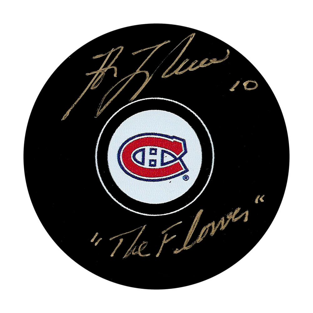 Guy Lafleur Autographed Montreal Canadiens Puck w/THE FLOWER Inscription