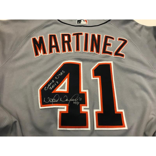 Photo of Autographed Game-Used Victor Martinez Road Jersey