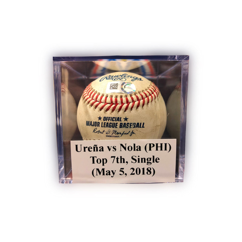 Photo of Game-Used Baseball: Aaron Nola Single (1st Hit of 2018, 8th of Career)