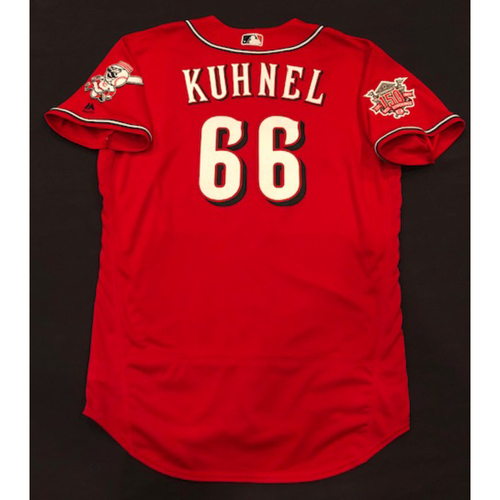 "Photo of Joel Kuhnel -- Game-Used ""Los Rojos"" Jersey -- D-backs vs. Reds on 9/6/19 -- Jersey Size 48"