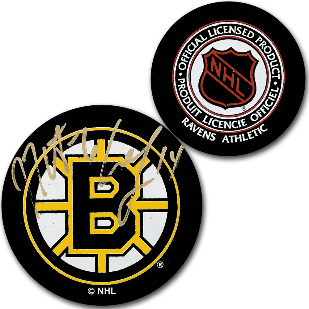 Joe Thornton & Sergei Samsonov Autographed Boston Bruins Vintage Ravens Athletic Puck