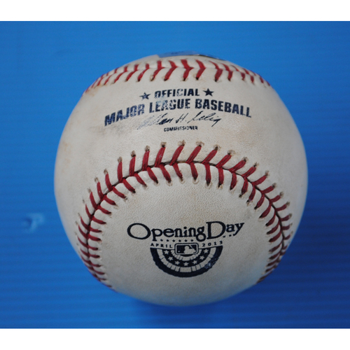 Photo of Game-Used Opening Day Baseball - Giants @ Dodgers - Batter - Buster Posey, Pitcher - Clayton Kershaw - Top of 1st - Pitch in Dirt - 4/1/13