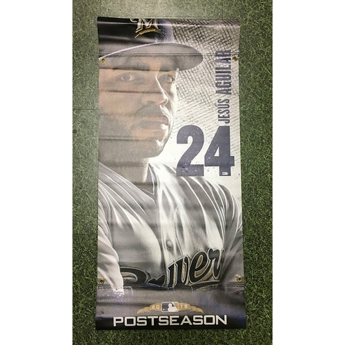 Photo of Jesus Aguilar 2018 Team-Issued Postseason Plaza Banner