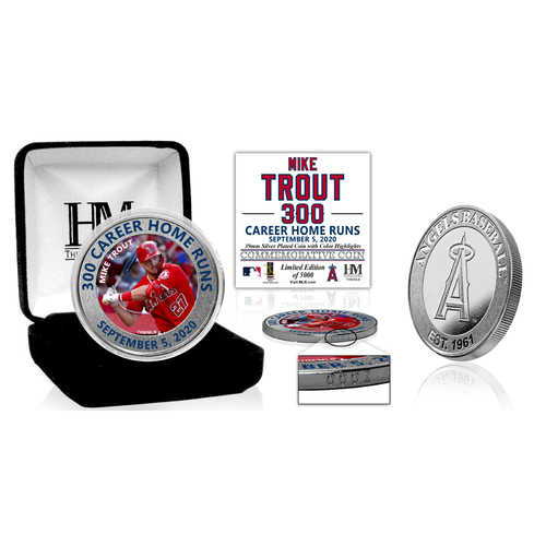 Photo of Mike Trout 300 Career Home Runs Silver Mint Coin