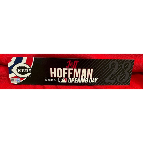 Photo of Jeff Hoffman -- 2021 Opening Day Locker Tag -- Game-Used -- Cardinals vs. Reds on 4/1/21