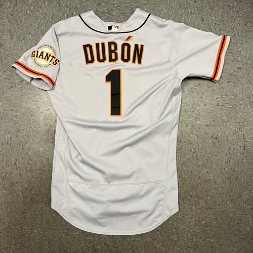 Photo of 2021 Game Used Road Jersey worn by #1 Mauricio Dubon on 5/17 @ CIN - HR #2 of 2021 & 6/22 @ LAA - HR #5 of 2021 - Size 42