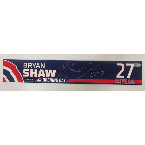 Photo of Game Used Locker Name Plate - Opening Day 4/5/2021 - Bryan Shaw #27 - Autographed