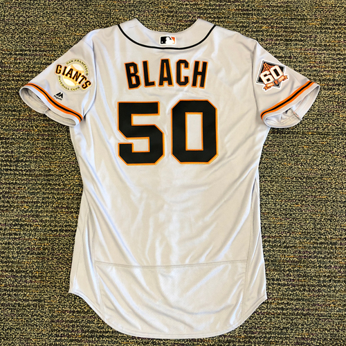 Photo of San Francisco Giants - 2018 Opening Day Game-Used Road Jersey - Worn by #50 Ty Blach on 3/29/2018 vs. the Los Angeles Dodgers - 5.0 IP, 3 K's, 0 ER, WIN - Jersey Size 46