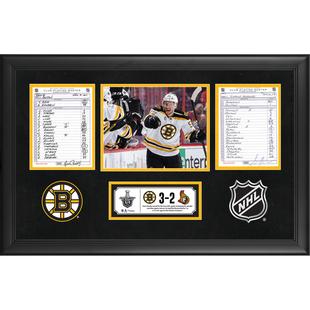 Boston Bruins Framed Game-Used Playoffs Game 5 Line-Up Cards, April 21, 2017 vs. Ottawa Senators - Sean Kuraly's First and Second Career NHL Goals
