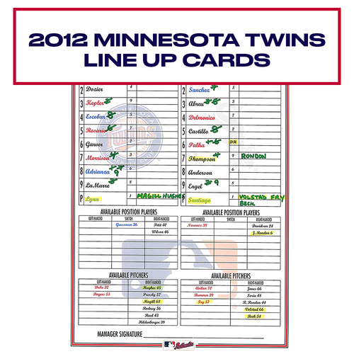 Photo of 2012 Minnesota Twins Game-Used Lineup Card - Choose your Game Date!