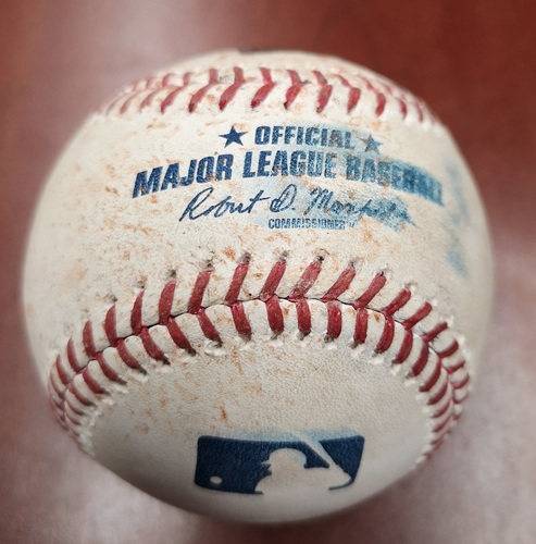 Photo of Authenticated Game Used Baseball - Single by Mookie Betts against Derek Law (May 20, 19 vs BOS). Top 8