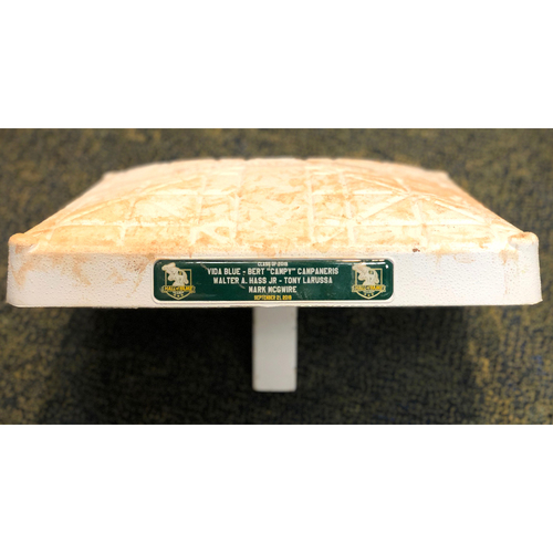 Photo of Game-Used Base: 1B (innings 7-9) 9/21/19 vs TEX - A's HOF Induction for Vida Blue, Bert Campaneris, Walter Hass, Tony LaRussa & Mark McGwire