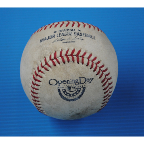 Photo of Game-Used Opening Day Baseball - Rockies @ Brewers - Batter - Carlos Gonzalez, Pitcher - Yovani Gallardo - Top of 5th, Pitch in the Dirt - 4/1/13