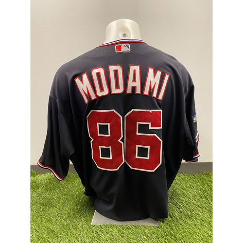 Photo of Team-Issued Ali Modami 2019 Navy Script Jersey with Postseason Patch