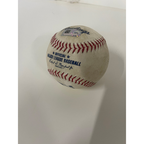 Photo of Game Used Baseball- 7/2/2021 Astros at Indians- Carlos Correa doubles (20) off pitcher Sam Hentges