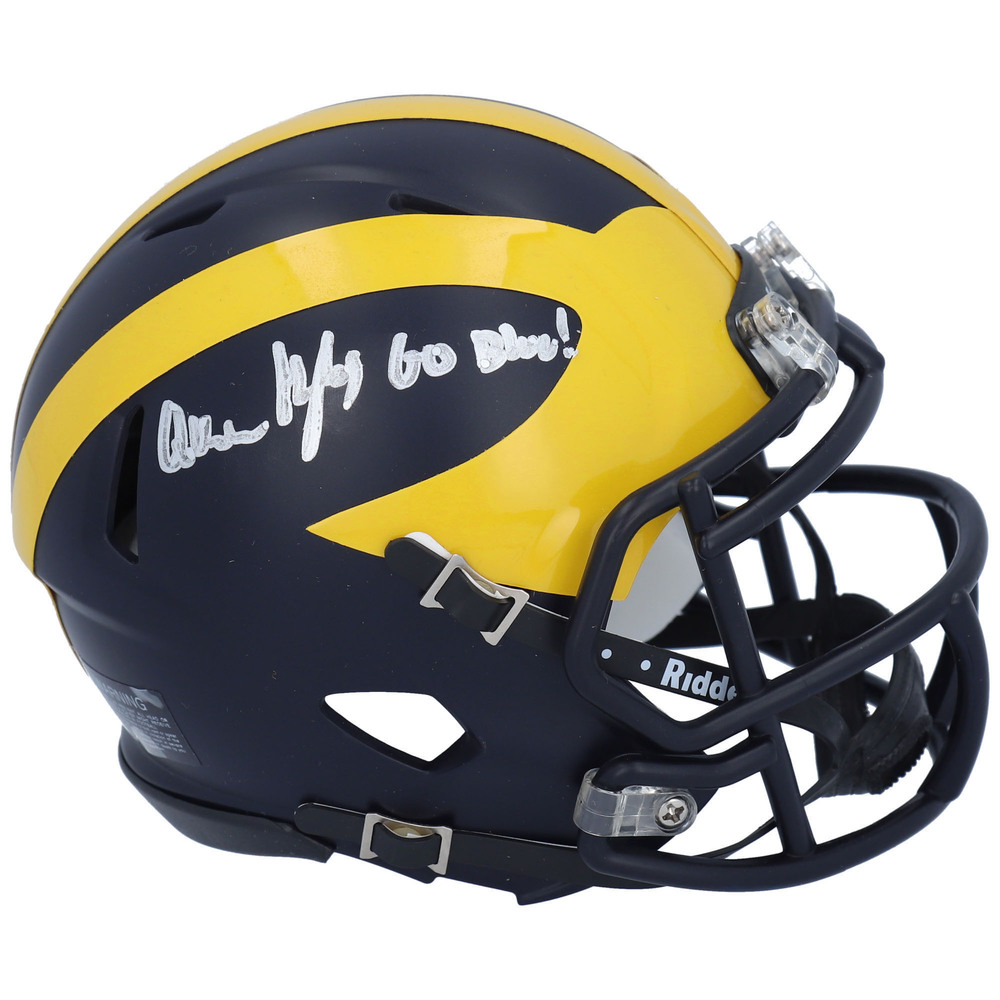 Quinn Hughes Vancouver Canucks Autographed Michigan Wolverines Riddell Speed Mini Helmet with