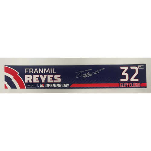 Photo of Game Used Locker Name Plate - Opening Day 4/5/2021 - Franmil Reyes #32 - Autographed