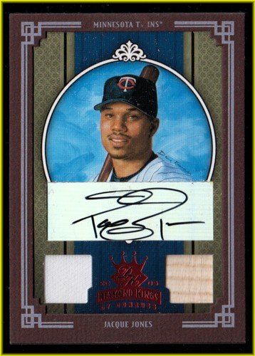 Photo of 2005 Diamond Kings Signature Materials Framed Red #129 Jacque Jones Bat-Jsy/50