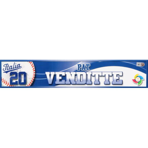 2013 WBC: Italy Game-Used Locker Name Plate - #20 Pat Venditte