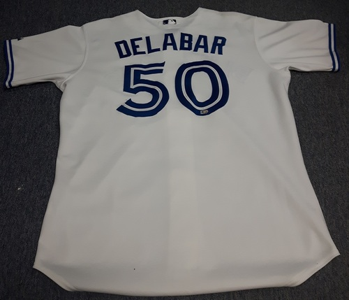 Photo of Authenticated Game Used Jersey - #50 Steve Delabar (April 2, 2013 - Opening Day). Size 48.