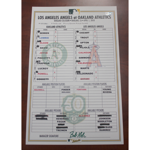 Photo of 4/1/2018 Game-Used Lineup Card LAA vs OAK (Shohei Ohtani's MLB Pitching Debut)