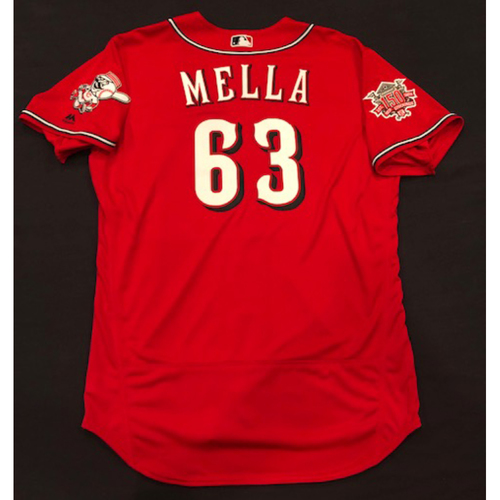 "Photo of Keury Mella -- Game-Used ""Los Rojos"" Jersey -- D-backs vs. Reds on 9/6/19 -- Jersey Size 48"